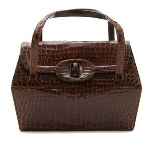 A Nettie Rosenstein Brown Crocodile Trapezoidal Bag