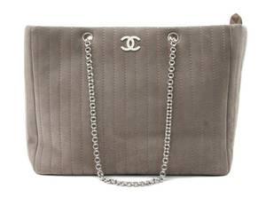 A Chanel Grey Suede Bag