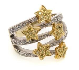 A 14 Karat White Yellow Gold and Diamond Ring
