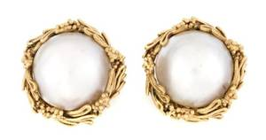 A Pair of 14 Karat Yellow Gold Mabe Pearl Earrings