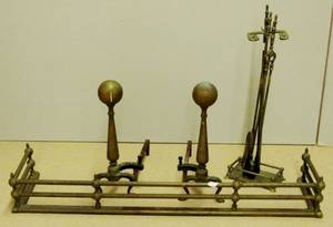 Brass Andirons Fire Fender  Fire Tools