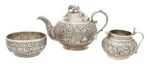 An Indian Silverplate Tea Service