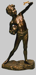 435 Large Bronze Boy Holding a Gold Crab