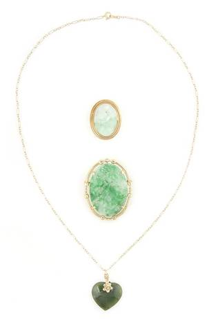 A Group of 14 Karat Yellow Gold and Jadeite Jewelry