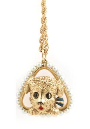 A 14 Karat Yellow Gold Cultured Pearl and Enamel Pendant