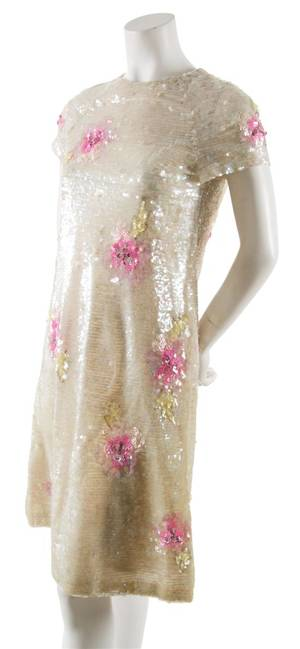 A Cream Sequined Cocktail Dress