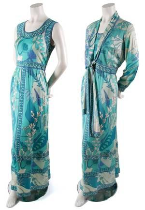 A Bessi Geometric Print Maxi Dress with Matching Jacket