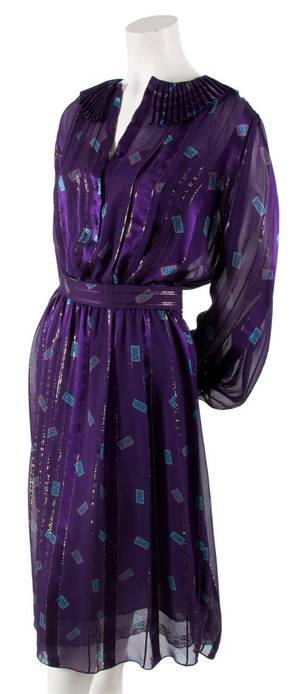 A Zandra Rhodes Purple Silk Dress