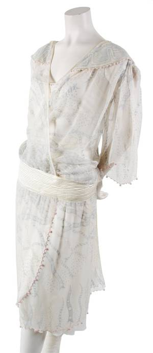 A Zandra Rhodes Cream Silk Dress