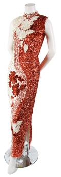 A Gerard SaintAlbin Red and Cream Sequin Evening Gown