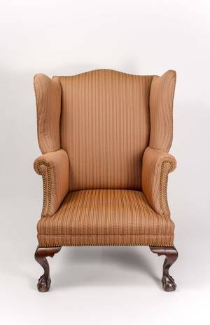 Chippendale Style Mahogany Wingback Chair