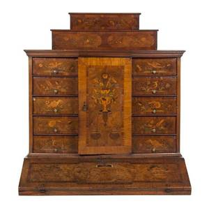 A Continental Marquetry Inlaid Secretary Desk