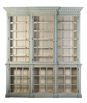 A George III Style Painted Breakfront Bookcase