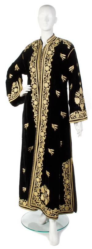 A Black Velvet and Gold Embroidered Evening Coat