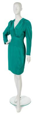 A Carolina Herrera Green Silk Dress