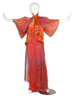 A Zandra Rhodes Coral Evening Ensemble Skirt