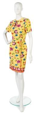 A Carolina Herrera Yellow Floral Silk Dress