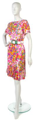 A Bill Blass Floral Silk Dress
