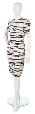 A Bill Blass Cream and Navy Striped Dress