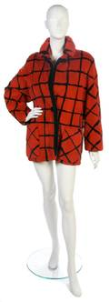 A Red and Black Grid Pattern Fur Jacket