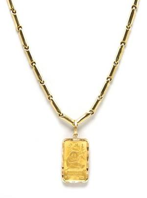 A 14 Karat Yellow Gold Tube Link Chain and Swiss 1 Gram Gold Bar