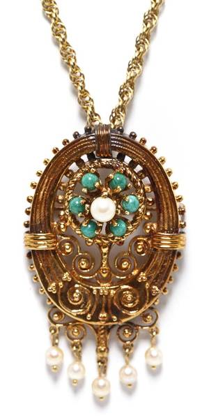 A 14 Karat Yellow Gold Turquoise and Cultured Pearl PendantPin