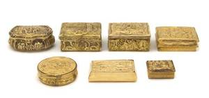 A Collection of Seven Continental Gilt Metal Boxes