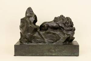 Patinated Bronze Lion Sculpture