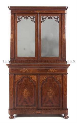 A Continental Parquetry Inlaid Secretary Bookcase