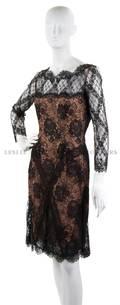 A Bill Blass Tan and Black Lace Cocktail Dress