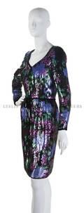 An Oscar de la Renta Floral Sequin Evening Dress