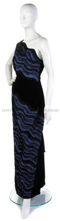 A Carolina Herrera Black Cut Velvet and Blue Evening Gown