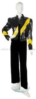 A Carolina Herrera Black and Yellow Sequined Evening Jacket