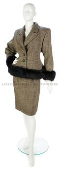 A Valentino Grey Tweed and Fur Trimmed Skirt Suit