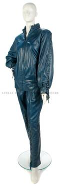 A Christian Dior Blue Leather Jacket
