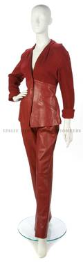 A Thierry Mugler Red Knit and Leather Ensemble