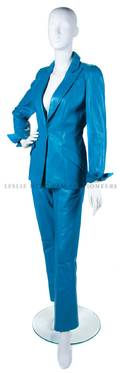 A Thierry Mugler Blue Leather Pant Suit