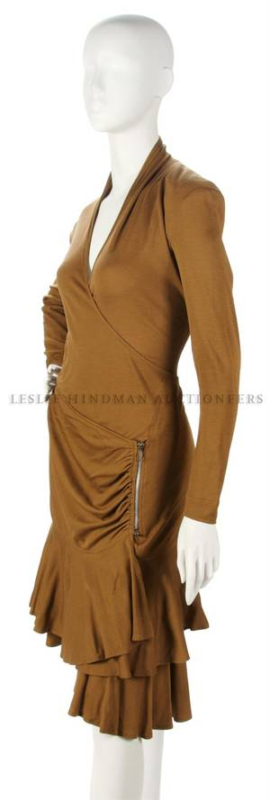 A Zandra Rhodes Brown Knit Dress