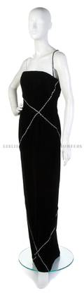 A Bill Blass Black Velvet and Rhinestone Trim Strapless Evening Gown