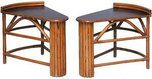 517 Pair of 1940s Mahogany and Rattan End Tables