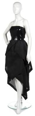 A Pierre Cardin Couture Black Sequin and Silk Gazar Evening Gown