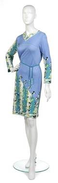An Emilio Pucci Purple and Teal Floral Print Cashmere Jersey Dress