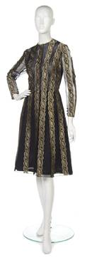 A Pauline Trigere Black and Gold Lace Cocktail Dress