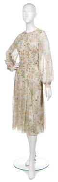 A Galanos Floral Silk Chiffon Dress