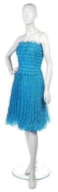 An Oscar de la Renta Blue Silk Organza Cocktail Dress