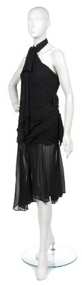 A Thierry Mugler Black Ruched Silk Chiffon Asymmetric Evening Gown