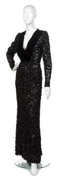 A Givenchy Black Lace and Sequin Evening Gown
