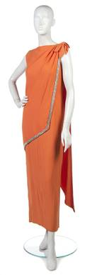 A Geoffrey Beene Orange Silk Crepe Evening Gown