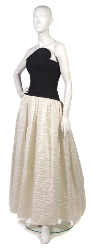 A Lanvin Black and White Silk Evening Gown