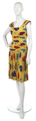 An Ungaro Multicolor Ruched and Pleated Silk Dress